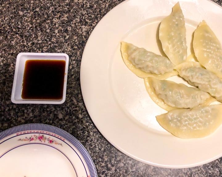 Kimchi Korean steamed dumplings